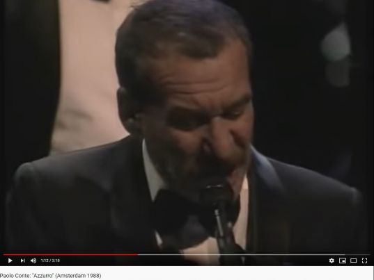 """YouTube: Paolo Conte: """"Azzurro"""" (Amsterdam 1988)"""