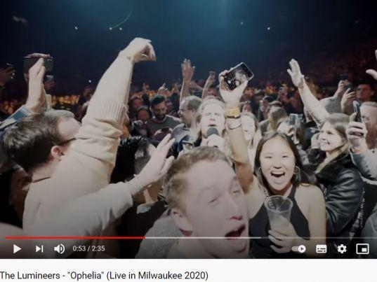 "YouTube: The Lumineers - ""Ophelia"" (Live in Milwaukee 2020)"